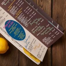Барное меню, винная карта на скрепке, ламинация.  105х297мм