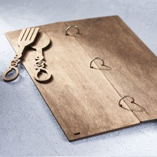 Барное деревянное меню на кольцах
