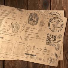 Срочная печать меню на крафте А3