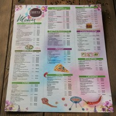 Печать. Цветное меню для ресторана, бара А3